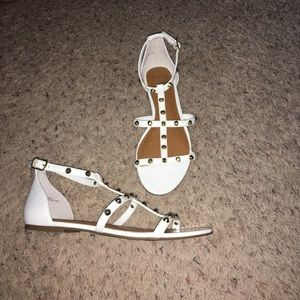 14th & Union White & Gold Studded Ankle Sandals 7